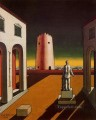 italian plaza with a red tower 1943 Giorgio de Chirico Metaphysical surrealism