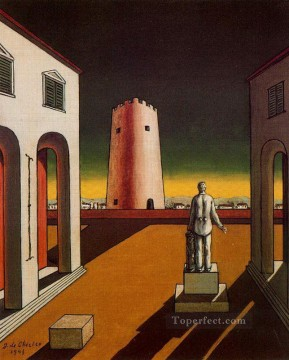 italian Painting - italian plaza with a red tower 1943 Giorgio de Chirico Metaphysical surrealism