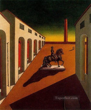 italian Painting - italian plaza with equestrian statue Giorgio de Chirico Metaphysical surrealism