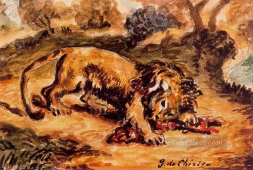 lion devouring a piece of meat Giorgio de Chirico Metaphysical surrealism Oil Paintings