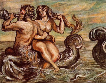 nymph with triton Giorgio de Chirico Metaphysical surrealism Oil Paintings