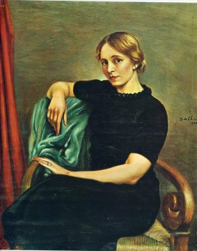 Chirico Art Painting - portrait of isa with black dress 1935 Giorgio de Chirico Metaphysical surrealism