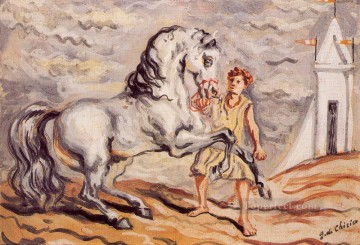 horse - runaway horse with stableboy and pavilion Giorgio de Chirico Metaphysical surrealism
