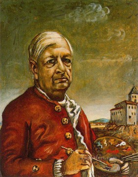 self portrait with palette 1960 Giorgio de Chirico Metaphysical surrealism Oil Paintings