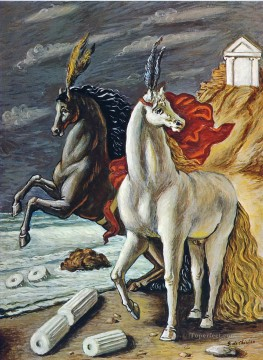 1963 Painting - the divine horses 1963 Giorgio de Chirico Metaphysical surrealism