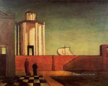 Chirico Art Painting - the enigma of the arrival and the afternoon 1912 Giorgio de Chirico Metaphysical surrealism