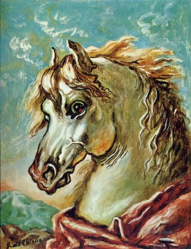 white horse s head with mane in the wind Giorgio de Chirico Metaphysical surrealism Oil Paintings