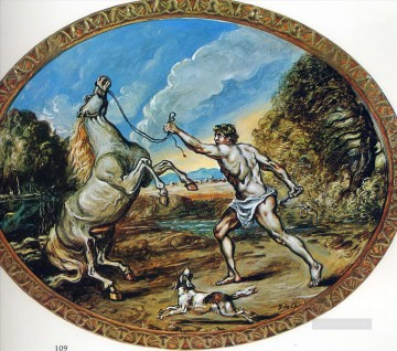 castor and his horse Giorgio de Chirico Metaphysical surrealism Oil Paintings