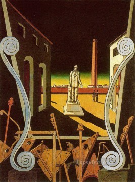 italian Painting - italian plaza with monument of poet Giorgio de Chirico Metaphysical surrealism