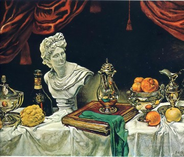 still Canvas - still life with silver ware 1962 Giorgio de Chirico Metaphysical surrealism