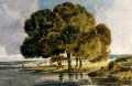 Trees On A Riverbank watercolour painter scenery Thomas Girtin