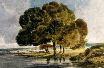 watercolour Oil Painting - Trees On A Riverbank watercolour painter scenery Thomas Girtin