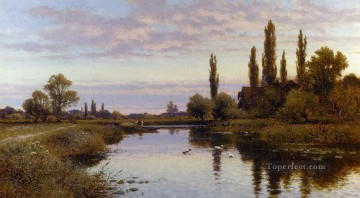 Alfred Glendening Painting - The Reed Cutter landscape Alfred Glendening