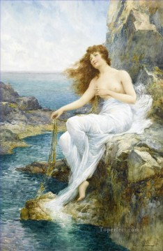 Alfred Glendening Painting - A Sea Maiden Resting on a Rocky Shore Alfred Glendening JR nude