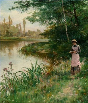 Artworks by 350 Famous Artists Painting - A Walk by the River Alfred Glendening JR landscape