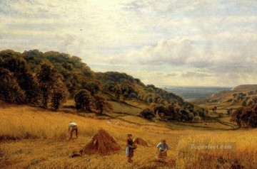 red Oil Painting - Harvesting At Luccombe Isle Of Wight landscape Alfred Glendening