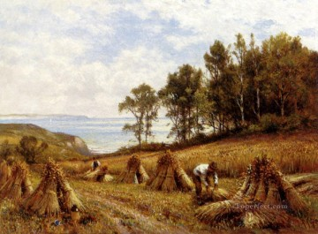 red Oil Painting - In The Cornfields Near Luccombe Isle Of Wight landscape Alfred Glendening