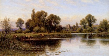 red Oil Painting - Medmenham Abbey landscape Alfred Glendening
