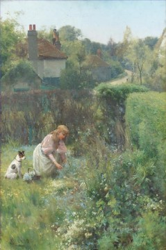 Alfred Glendening Painting - Picking wild flowers Alfred Glendening JR little girl puppy dog