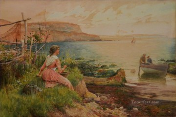 Alfred Glendening Painting - The Fisherman Wife Alfred Glendening JR