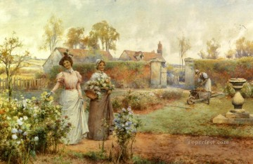 Maid Works - A Lady And Her Maid Picking Chrysanthemums landscape Alfred Glendening