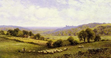 Alfred Glendening Painting - Near Amberley Sussex With Arundel Castle In The Distance landscape Alfred Glendening