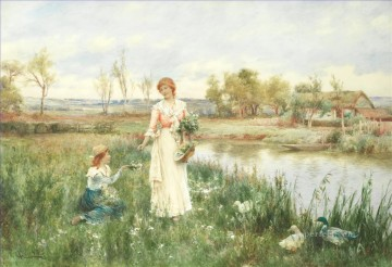 Artworks by 350 Famous Artists Painting - Springtime Alfred Glendening JR mother child idyllic