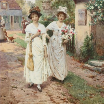 women Painting - Strangers to the Village Alfred Glendening JR women girls