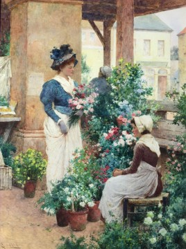 women Painting - The Flower Shop Alfred Glendening JR women