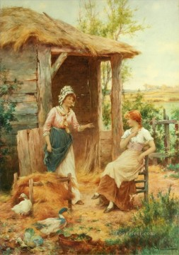 Artworks by 350 Famous Artists Painting - farmyard gossips Alfred Glendening JR idyllic women