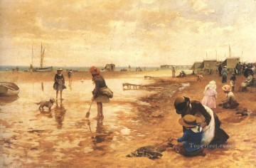 red Oil Painting - A day at the seaside landscape Alfred Glendening