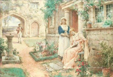 Artworks by 350 Famous Artists Painting - The Courtship Alfred Glendening JR ladies garden