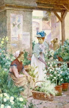 women Painting - The Flower Market Boulogne Alfred Glendening JR women