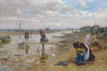 Artworks by 350 Famous Artists Painting - a day at the seaside Alfred Glendening JR beach