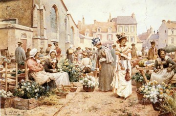 Red Art - Jr Alfred Augustus Flower Market In A French Town Alfred Glendening