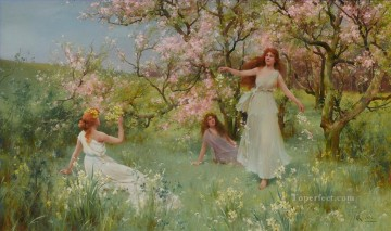 Alfred Glendening Painting - The first days of spring Alfred Glendening JR flowers garden girls
