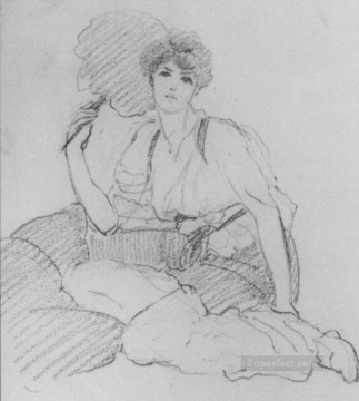 william - Flabellifera pencil sketch Neoclassicist lady John William Godward