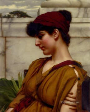 lady - A Classical Beauty In Profile Neoclassicist lady John William Godward