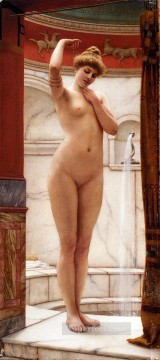Bath Painting - A Pompeian Bath lady nude John William Godward