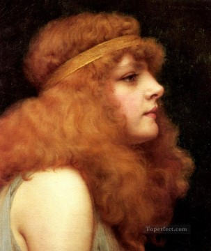 william art painting - An Auburn Beauty Neoclassicist lady John William Godward