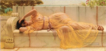 Girl in yellow Drapery Neoclassicist lady John William Godward