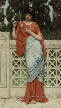 Love Painting - He Loves Me He Loves Me Not Neoclassicist lady John William Godward