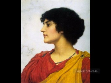 Italian Oil Painting - Italian Girls Head 1902 Neoclassicist lady John William Godward