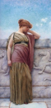 on canvas - Leaning on the Balcony 1892 Neoclassicist lady John William Godward