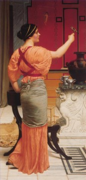 Row Painting - Lesbia with her Sparrow Neoclassicist lady John William Godward