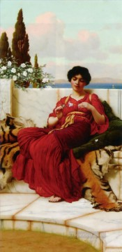 lady painting - Mischief Neoclassicist lady John William Godward