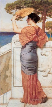 On the Balcony 1911 Neoclassicist lady John William Godward Oil Paintings