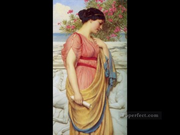 Sappho 1910 Neoclassicist lady John William Godward Oil Paintings