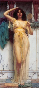 Mirror Painting - The Mirror 1899 lady nude John William Godward