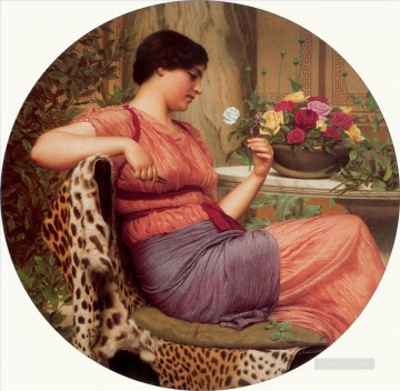 Rose Art - W The Time of Roses 1916 Neoclassicist lady John William Godward